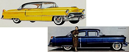 1954 CADILLAC SERIES 62 SEDAN & 1955 SERIES 62 COUPE DE VILLE - LOT OF 2 COLOR CLIPPINGS - USA - GREAT !! (1954 Cadillac Series)