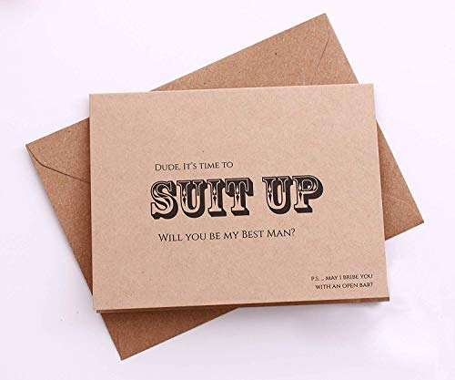 8CT Will You Be My Groomsman and Best Man Proposal Card. Time to SUIT UP cards. 7CT Groomsman Cards, 1 Best Man Invitation with Mailing Envelopes. Groomsman -