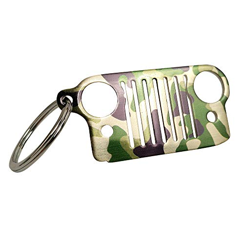 HUSUKU Grill 3D Light Camouflage Color Metal Key Chain 304 Stainless Steel Keychain for Jeep Wrangler Enthusiasts Car Gift (16 Styles Optional)