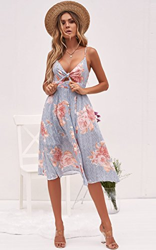 747d590cdb3 ECOWISH Womens Dresses Summer Tie Front V-Neck Spaghetti Strap Button Down  A-Line Backless Swing Midi Dress 1603 Stripe XL - EH809 ST XL   Casual    Clothing ...
