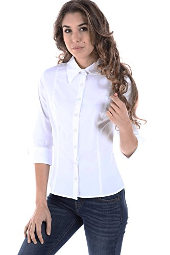 (Fashion Magazine Women's Button Down Basic 3/4 Sleeve Slim Shirts & Vest,Made in USA,White,XX-Large )