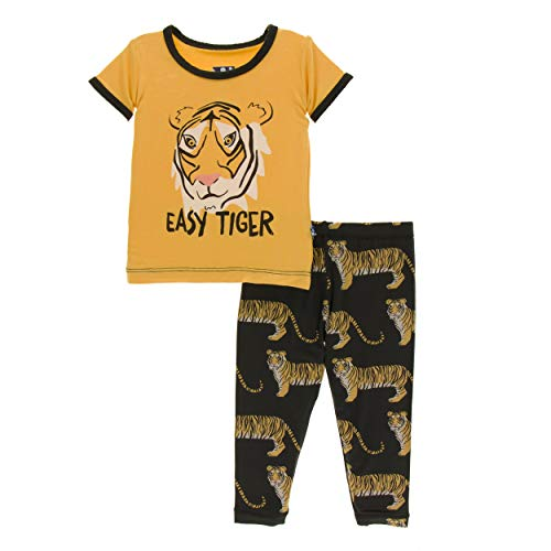 (Kickee Pants Little Boys Print Short Sleeve Pajama Set - Zebra Tiger, 5 Years)
