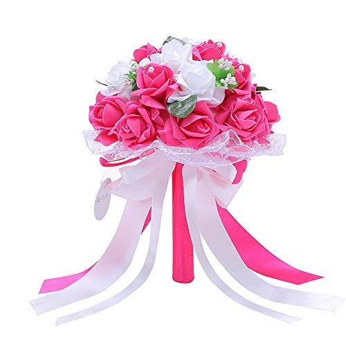 Handmade Wedding Bridal Bouquet Artificial Flowers Rose with Fake Pearl and Ribbon for Bridesmaid Bride