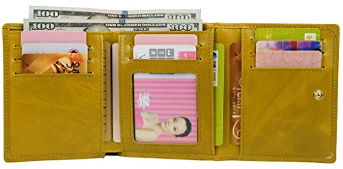 YALUXE Women's Compact Small Leather Tri-fold Wallet with Zipper Pocket(Gift Box) Yellow by YALUXE