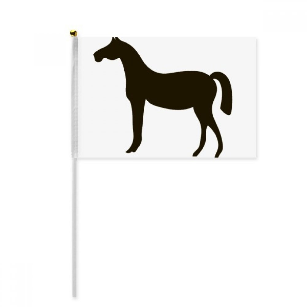 Black Horse Animal Portrayal Hand Waving Flag 8x5 inch Polyester Sport Event Procession Parade 4pcs