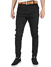 Italy Morn Mens Flat Front Joggers Casual Pants Twill Chinos Slim Elastic Cuff