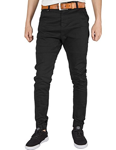[ITALY MORN Men Chino Jogger Pants Elastic Cuff Casual Pants Cotton Twill Khakis Slim Fit Black (Small, Black)] (Italy Cotton Dress)