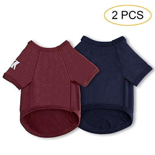 Koneseve Dog Shirts Cotton T-Shirt Soft Clothes, Basic Breathable Hoodie Sweater Bottoming Shirt for Small Dog Cat Puppy Animal Adorable Cozy Apparel Cute Fashion Costume Blue & Red 2 Packs XL