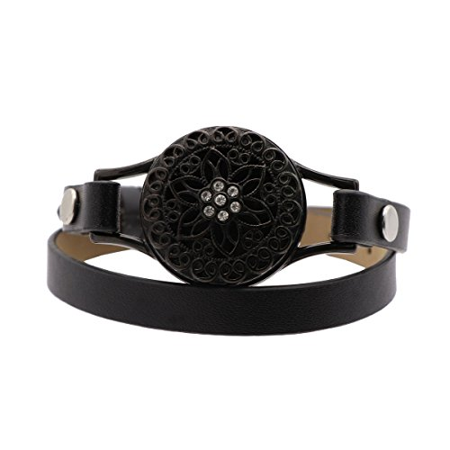 NewStar Leather Locket Essential Oil Diffuser Bracelet Women Aromatherapy Black Wrap - Band Locket