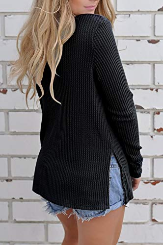 Femmes Casual noir Tricot Z Pull Yidarton Shirt Longues Sexy Manches V Top Col Hiver Automne aZFRwdq
