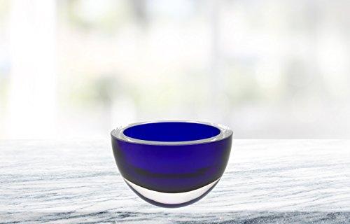 Cobalt Crystal Bowl - (D) Centerpiece 'Penelope' Cobalt Blue-Colored Fruit Bowl, Lead Free Crystal Glass