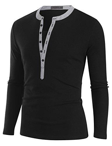 Doublju Mens Basic Contrast Trim Slim Fit Henley Shirts