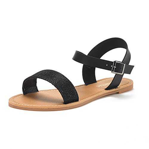 DREAM PAIRS Womens Cute Open Toes One Band Ankle Strap Flexible Summer Flat Sandals New Black Glitter G7jfMnxGw