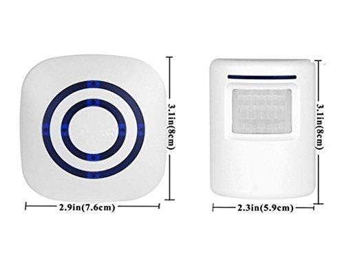 Motion Sensor Door Chime for Business, Outdoor Doorbell Kit Wireless Driveway Alert: Infrared Motion Sensor Chime with 1 Plug-in Receiver and 1 PIR Motion Sensor Detector Alert - LED Indicators