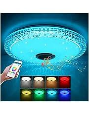 LED taklampa färgförändring, LED taklampa Bluetooth-högtalare, med fjärrkontroll, 36 W dimbar, med 6 ljusstyrkenivåer, IP44 vattentät för badrum, vardagsrum, balkong, sovrum