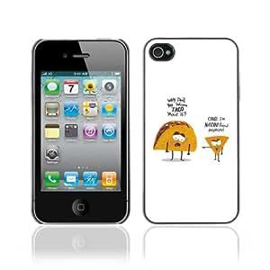 CaseCaptain Carcasa Funda Case - Apple iPhone 4 / 4S / Funny Taco & Nacho Illustration /