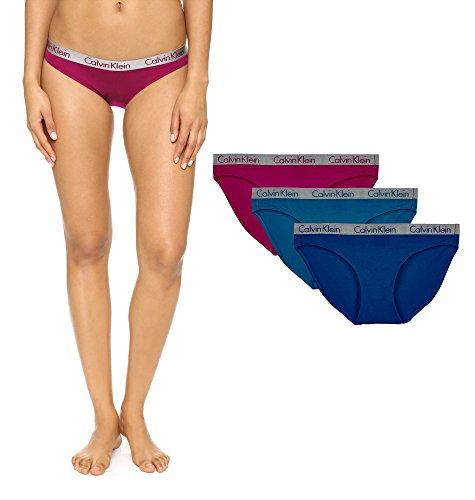 Calvin Klein Womens Radiant Cotton Bikini Panty  3 Pack   Blue Navy Fuchsia  Medium
