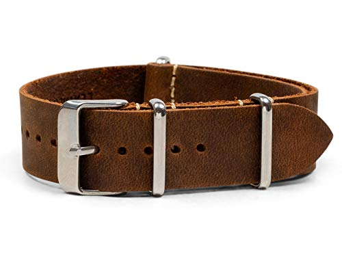 Benchmark Straps 18mm Dark Brown Oiled Leather NATO Watchband (More Colors Available)
