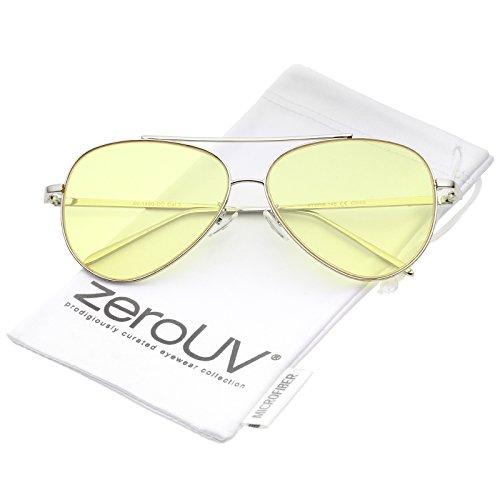 zeroUV - Retro Metal Frame Double Nose Bridge Color Flat Lens Aviator Sunglasses 60mm (Silver / - Tinted Blue Sunglasses