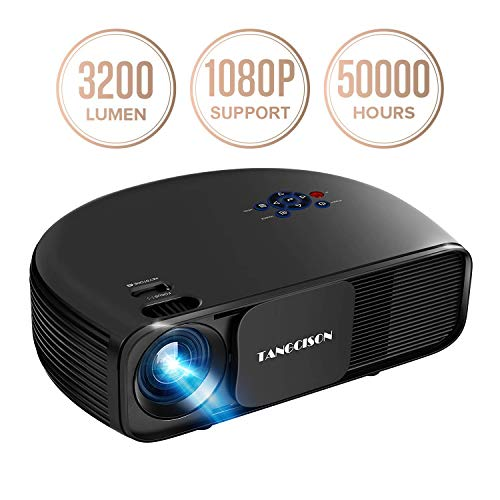 "TANGCISON Home Projector, 3300 Lumens LED Video Projector with 150"" Projection Size, Multimedia Portable Projector Support 1080P HDMI SD USB VGA AV for Home Cinema TV Game iPhone Andriod"