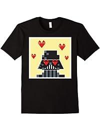 Vader Pixel Heart Eyes Valentine's Graphic T-Shirt