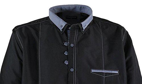 Schwarzes Langarmhemd von Lavecchia bis Größe 7XL, Größe:7XL