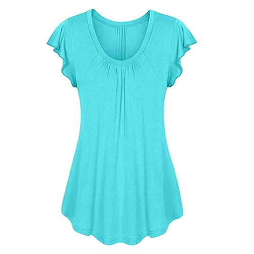 Pleats Silk Tunic - Bafaretk Womens Solid Tops Row Pleats Short Sleeve Blouse Ruched O-Neck Irregular T-Shirt (2XL, Blue)