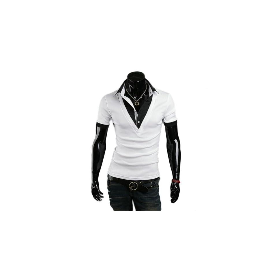 Zehui Mens Casual Dress Slim Fit Polo Short Sleeve Tee Shirts Black Tag M