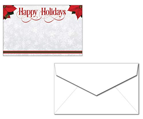 Poinsettia Happy Holidays Enclosure Cards with Envelopes - 40 Sets - Small Cards for Gifts or Flowers