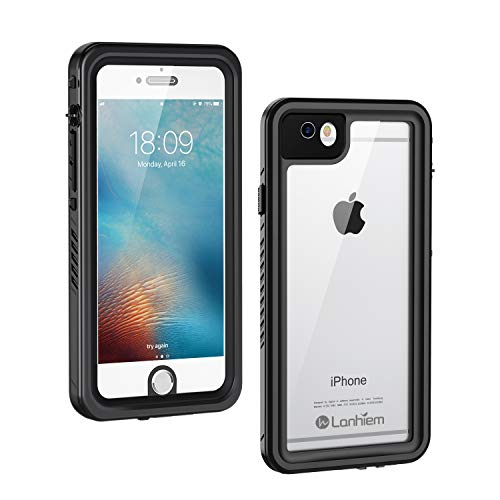 Lanhiem iPhone 6 / 6s Case, IP68 Waterproof Dustproof Shockproof Case with Built-in Screen Protector, Full Body Sealed Underwater Protective Cover for iPhone 6 and iPhone 6s (Black)