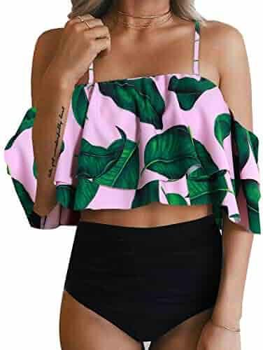 895e4b688e21f Tempt Me Women Two Piece Off Shoulder Ruffled Flounce Crop Bikini Top with  Print Cut Out