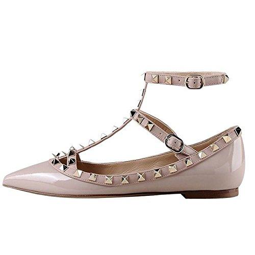 Arc-en-ciel zapatos de las mujeres del dedo del pie en punta hebilla tachonada pisos-beige-us10