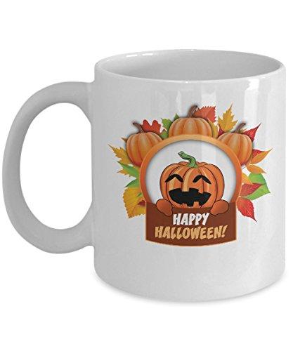 Happy Halloween Coffee Cup 11 OZ, Mug Funny Tea Cup Scary Pumpkin Witch ()
