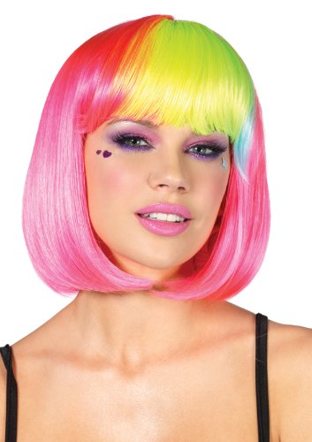 Leg Avenue Pop Rainbow Bang Bob Wig, Neon