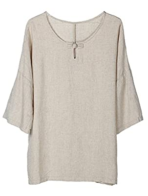 Minibee Women's Elbow Sleeve Linen Tunic Tops Solid Color Retro Blouse