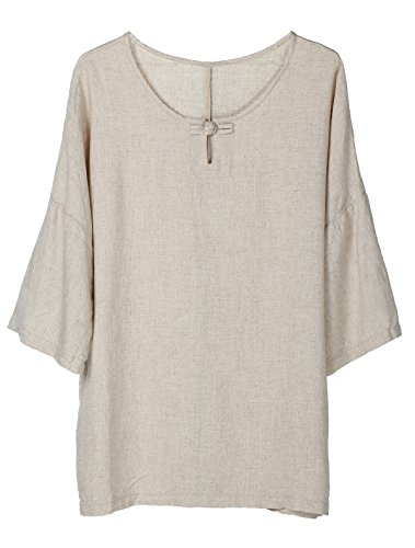 Minibee Womens Elbow Sleeve Linen Tunic Tops Solid Color Retro Blouse