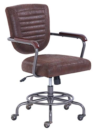 Vintage Modern Faux Leather Farmhouse Swivel Office Chair - Faux Vintage Leather