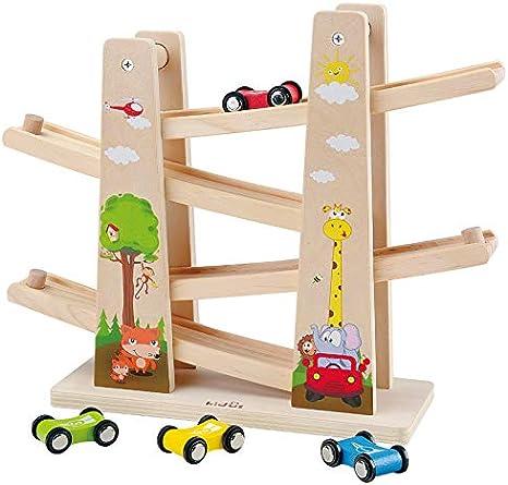 Baobë Pista con Coches de Madera, Juego de Coches con Zigzag, Clic en Clack Racing Track con * 4 * Cars, Regalo Educativo para niños pequeños (Jungla de Madera)
