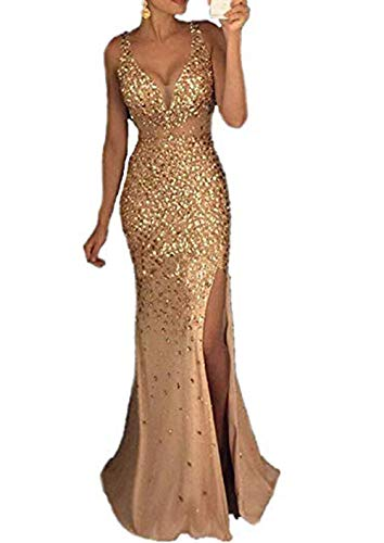 gsunmmw Women's Sexy Beaded Long Mermaid Prom Dresses V-Neck Split Crystal Formal Evening Party Pageant Gowns GS105 Gold