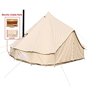 PlayDo 4-Season Waterproof Cotton Canvas Wall Tent Yurts Tent with Roof Stove Jack Hole for Family Camping Hunting Hiking Party (Tent with Power Cable Hole, 6M/19.6ft)