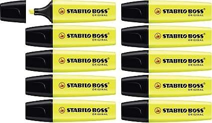 Marcador fluorescente STABILO BOSS Original - Caja con 10 unidades - Color amarillo: Amazon.es: Oficina y papelería