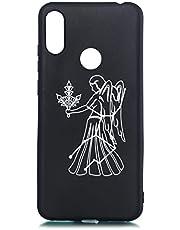 Urhause Negro Funda Compatible con Huawei Honor 8A Original Carcasa Case Ultra Fina Líquido de Silicona Gel Suave Antichoque Bumper Diseño Patrón de Constelación Antigolpes Case-Virgo