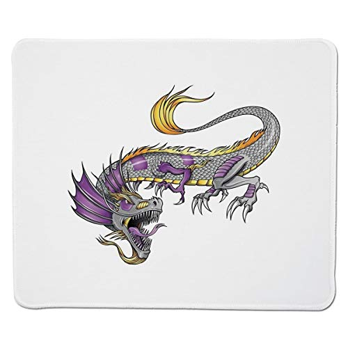 4d8c3550c6638 Yanteng Gaming Mouse Pad Japanese Dragon,Ethnic Far Eastern Beast Fiery  Monster with Scales Fangs