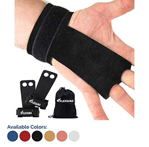 KAYANA 2 Hole Leather Gymnastics Hand Grips - Palm Protection and Wrist Support for Cross Training, Kettlebells, Pull ups, Weightlifting, Chin ups, Workout, Exercise (Youth Black, Medium)
