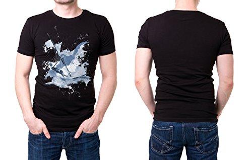 Windsurfer_III schwarzes modernes Herren T-Shirt mit stylischen Aufdruck