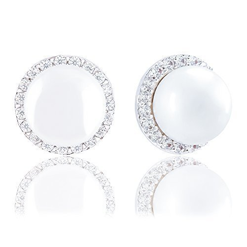 18k Gold Plated Round Simulated Shell Pearl with Cubic Zirconia Halo Stud Earrings (8-8.5 mm)