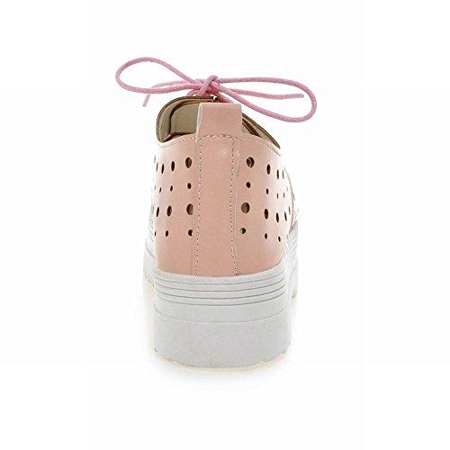 Carolbar Donna Pizzo Su Trafitto Dolce Scarpe Casual Moda Casual Moda Piattaforma Rosa