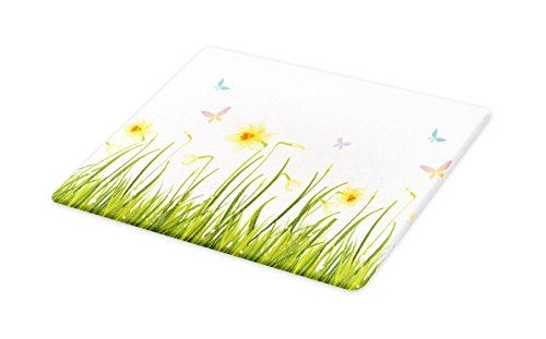 Lunarable Daffodils Cutting Board, Daffodil Field with Butterflies Meadow and Grass Springtime Park Easter Print, Decorative Tempered Glass Cutting and Serving Board, Small Size, Yellow Green