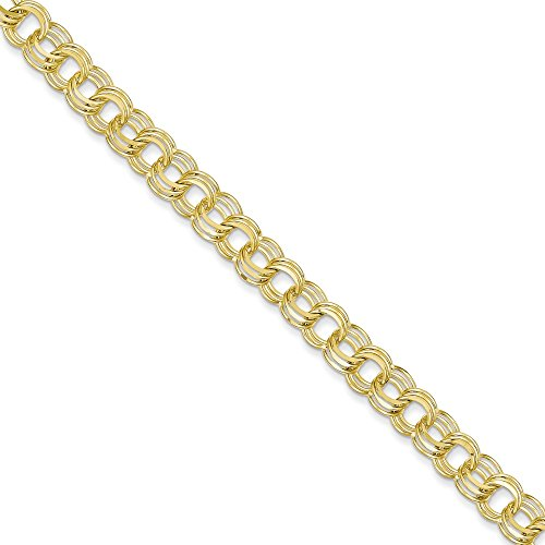 10k Yellow Gold Triple Link Charm Bracelet 8 Inch Fine Jewelry Gifts For Women For Her
