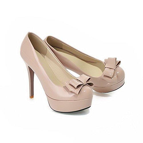 AllhqFashion Damen Ziehen auf PU Leder Rund Zehe Rein Stiletto Pumps Schuhe Kamel Farbe